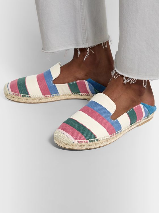 Loewe Collapsible-Heel Striped Canvas and Suede Espadrilles