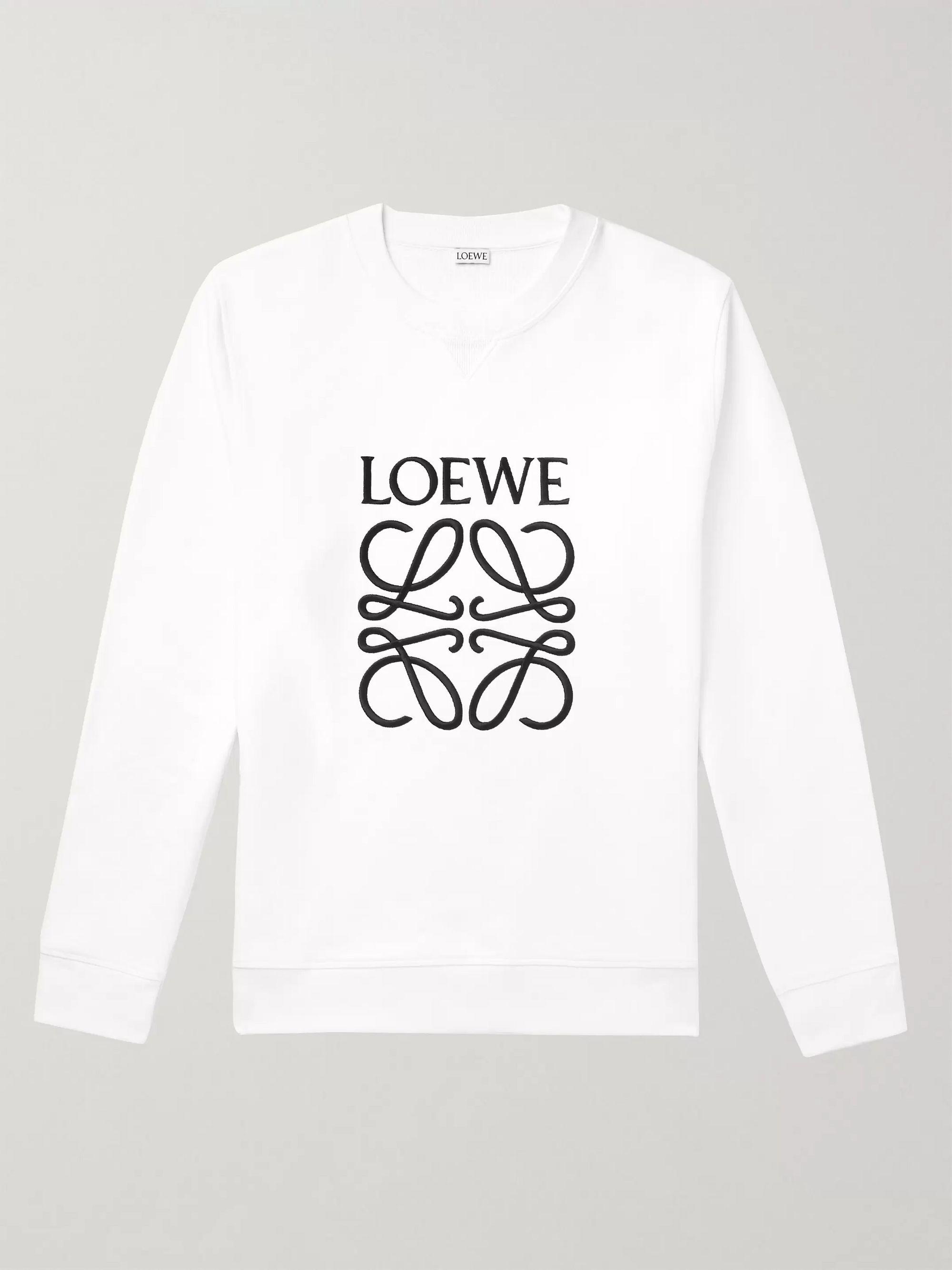 로에베 LOEWE White Slim-Fit Logo-Embroidered Loopback Cotton-Jersey Sweatshirt,White