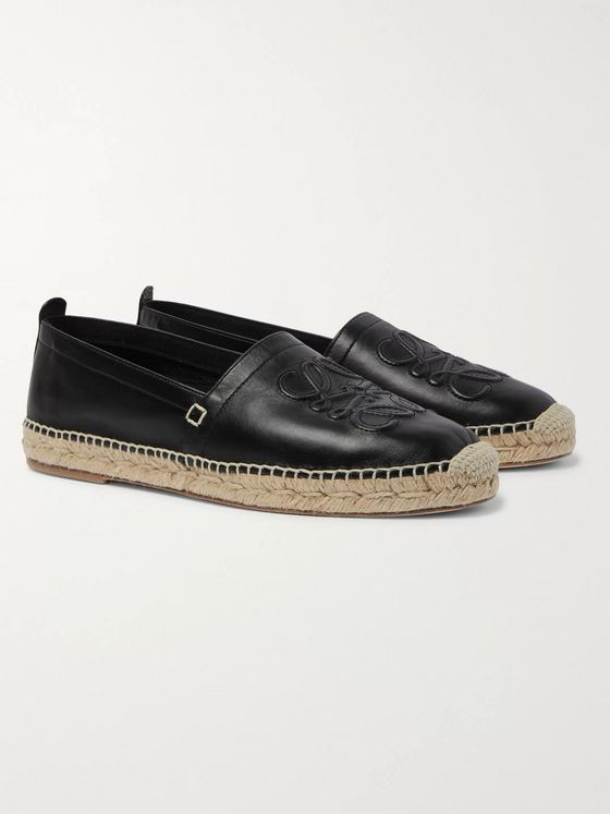 Loewe Logo-Embossed Leather Espadrilles