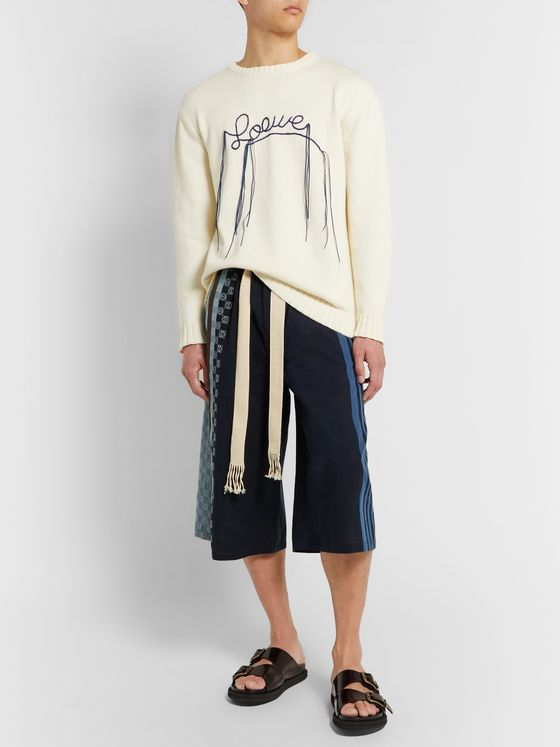 Loewe Wide-Leg Logo-Embroidered Striped Cotton Drawstring Shorts