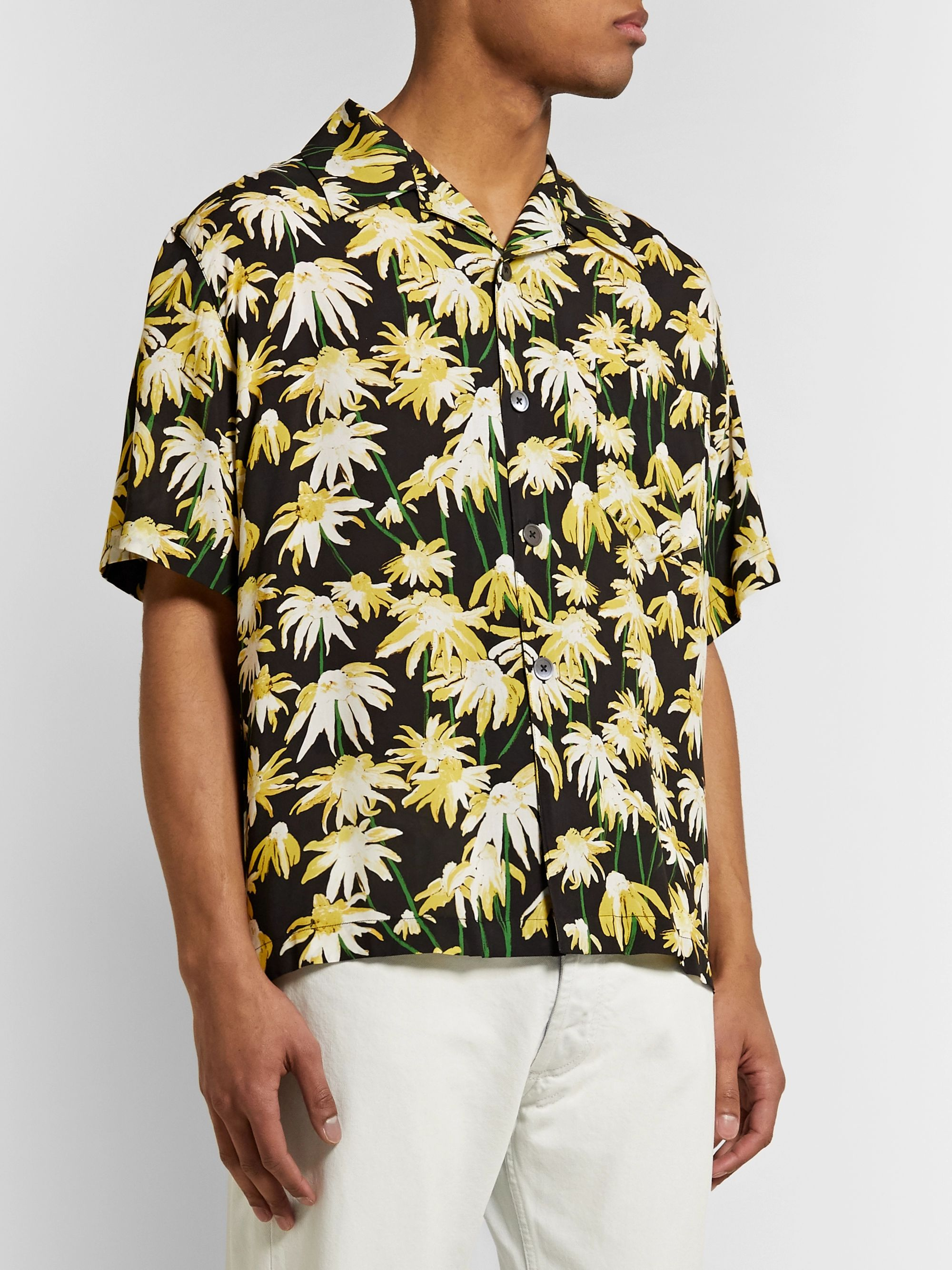 Loewe Camp-Collar Floral-Print Matte-Satin Shirt