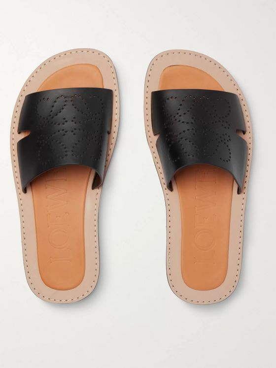 Loewe Logo-Perforated Leather Slides