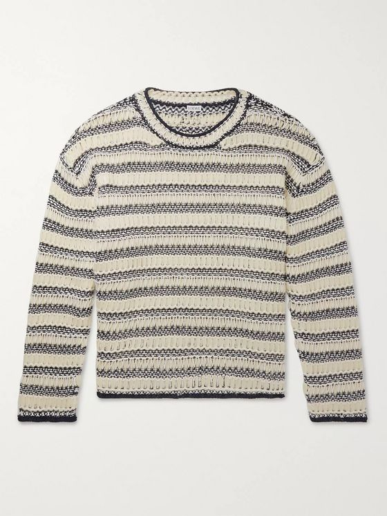 Loewe Open-Knit Striped Cotton and Wool-Blend Sweater