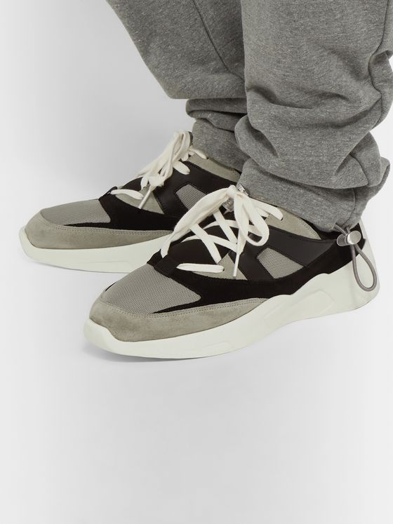 FEAR OF GOD ESSENTIALS Mesh, Suede and Leather Backless Sneakers