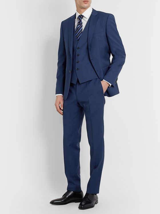 Hugo Boss Genius Slim-Fit Micro-Checked Virgin Wool Suit Trousers