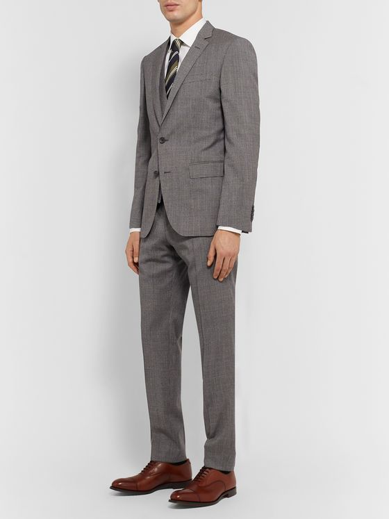 Hugo Boss Grey Slim-Fit Puppytooth Virgin Wool Suit Trousers
