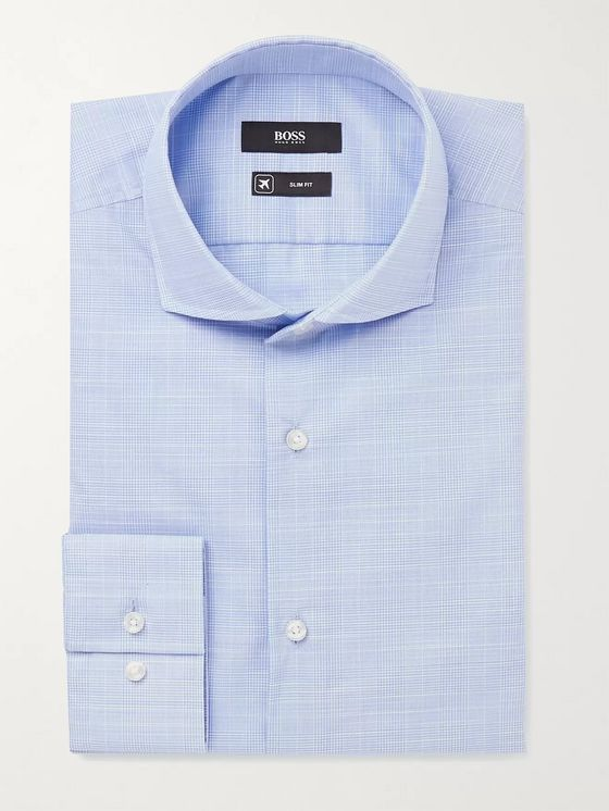 Hugo Boss Blue Jason Slim-Fit Cutaway Collar Prince of Wales Checked Cotton Shirt
