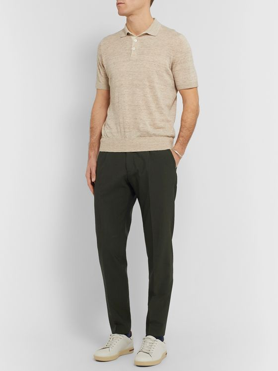 Hugo Boss Slim-Fit Tapered Wool-Blend Seersucker Trousers