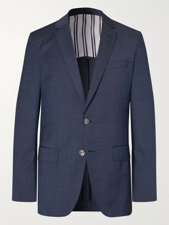 Hugo Boss Navy Hartley Slim-Fit Unstructured Virgin Wool Suit Jacket