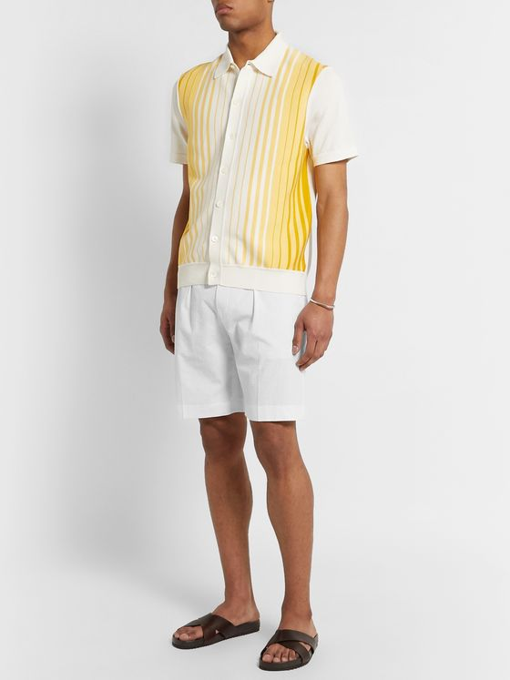 Hugo Boss Pepe Pleated Cotton-Seersucker Shorts