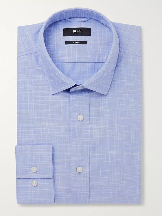Hugo Boss Blue Joy Slim-Fit Checked End-on-End Cotton Shirt