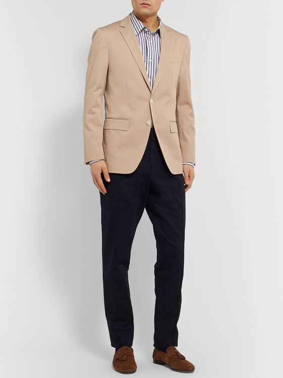 Hugo Boss Beige Hartley Slim-Fit Cotton-Blend Twill Blazer