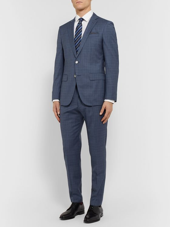 Hugo Boss Blue Hartley Slim-Fit Prince of Wales Checked Virgin Wool Suit Jacket