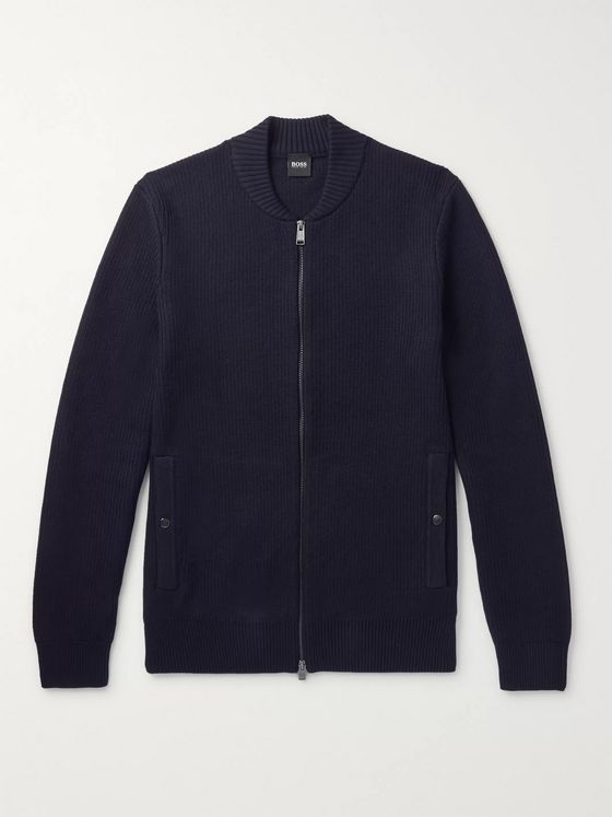 Hugo Boss Slim-Fit Ribbed Cotton and Virgin Wool-Blend Zip-Up Cardigan
