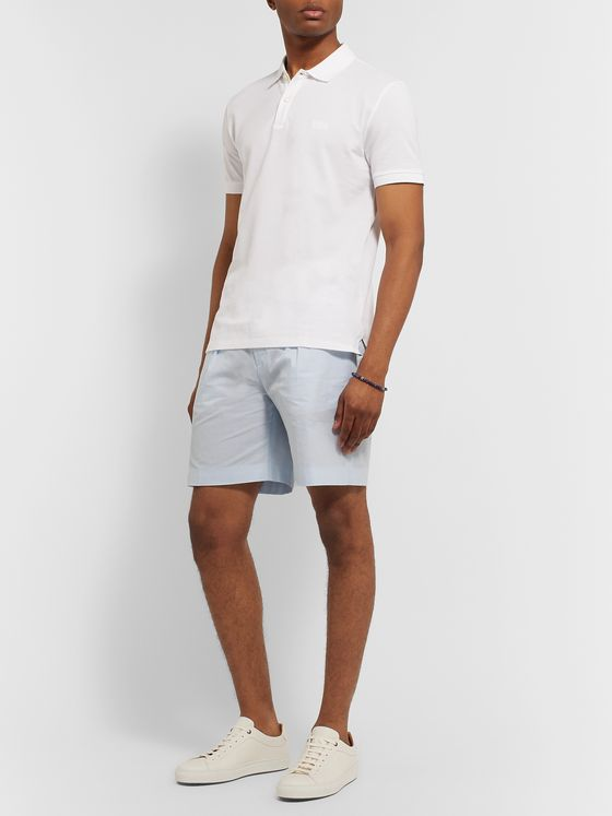 Hugo Boss Pepe Pleated Pinstriped Cotton-Seersucker Shorts