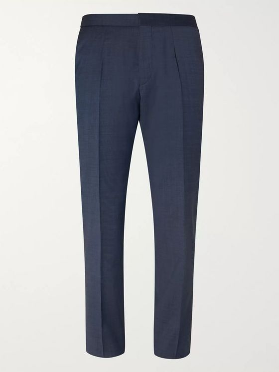 Hugo Boss Navy Bryder Slim-Fit Virgin Wool Suit Trousers