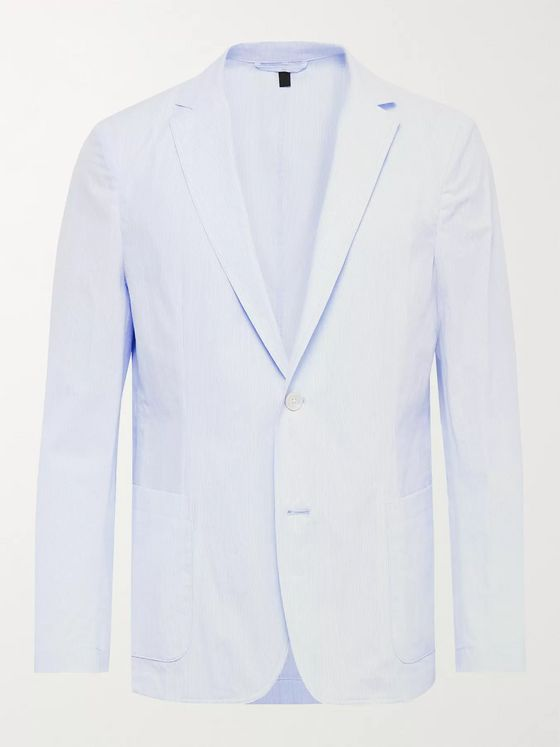 Hugo Boss Unstructured Pinstriped Cotton-Seersucker Blazer