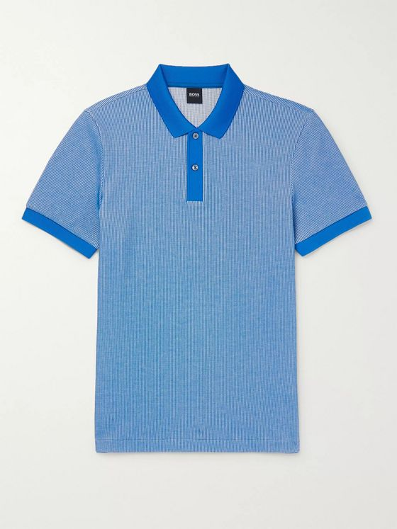 Hugo Boss Waffle-Knit Cotton-Blend Polo Shirt