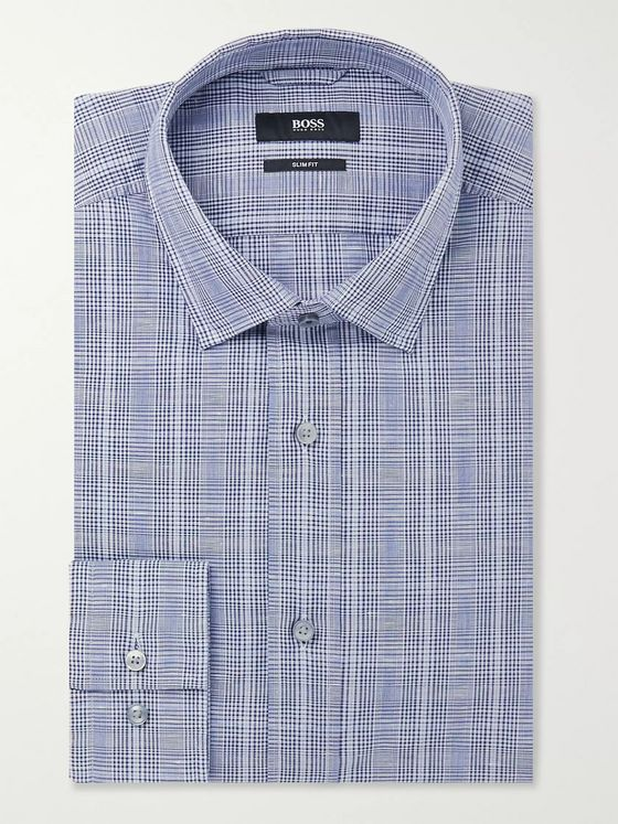 Hugo Boss Navy Slim-Fit Prince of Wales Checked Cotton and Linen-Blend Shirt