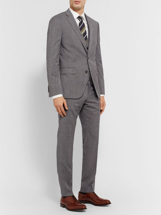 Hugo Boss Grey Hartley Slim-Fit Puppytooth Wool Suit Jacket