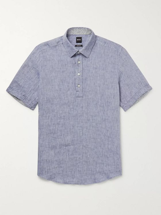 Hugo Boss Mélange Linen Half-Placket Shirt
