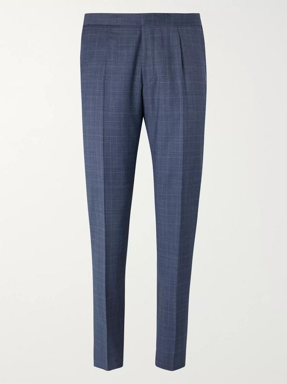 Hugo Boss Blue Bryder Slim-Fit Prince of Wales Checked Virgin Wool Suit Trousers