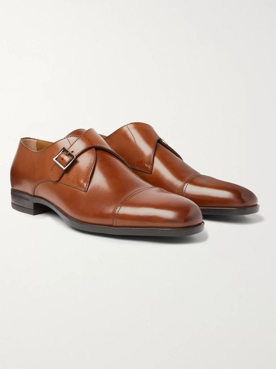 Hugo Boss Cap-Toe Leather Monk-Strap Shoes