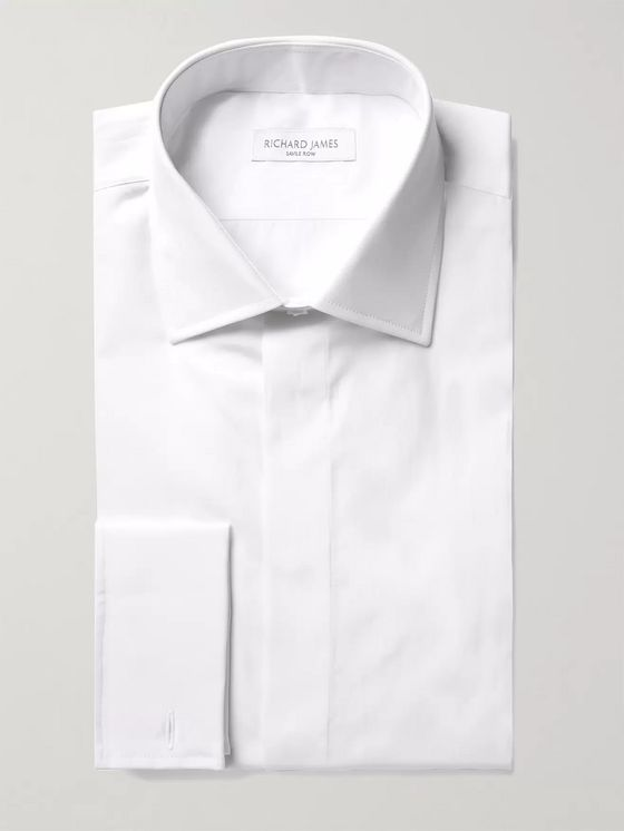 Richard James White Slim-Fit Double-Cuff Cotton-Poplin Shirt