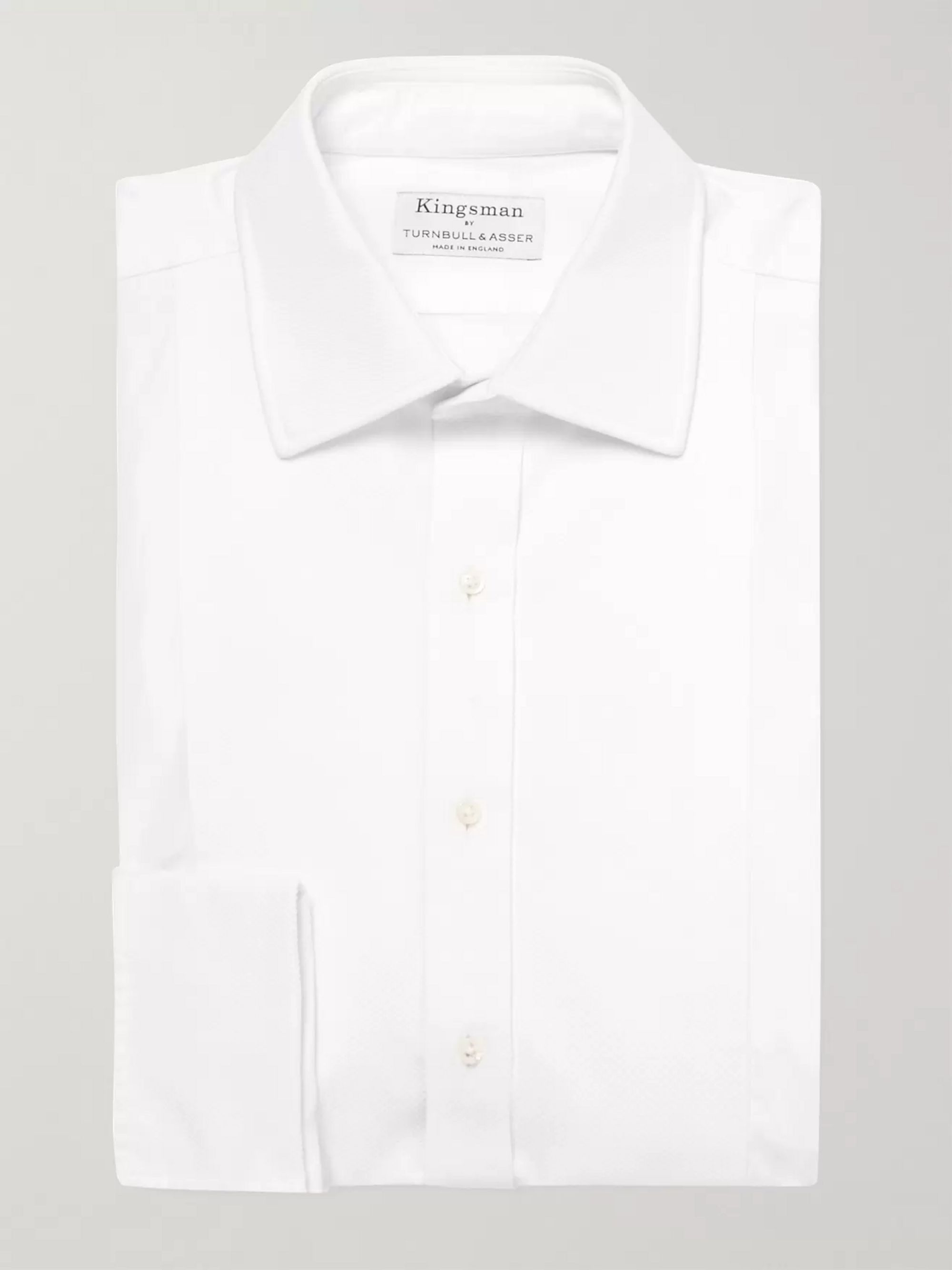 KINGSMAN + Turnbull & Asser White Bib-Front Cotton Tuxedo Shirt