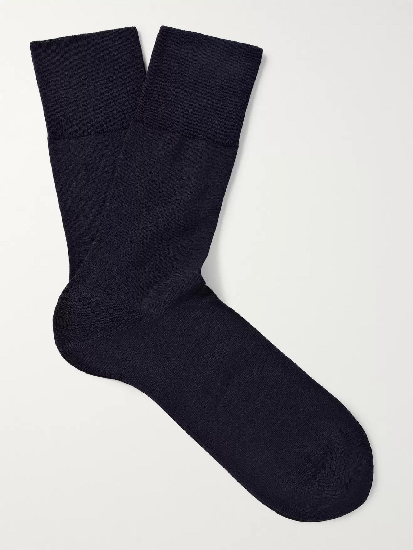 falke - airport wool and cotton-blend socks - men - blue