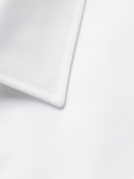 PAUL SMITH White Slim-Fit Contrast-Cuff Cotton-Poplin Shirt