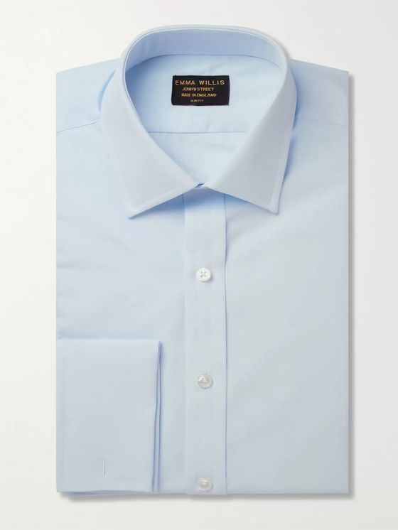 Emma Willis Blue Double-Cuff Cotton Shirt