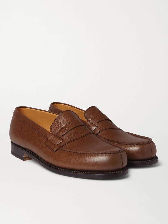 J.M. Weston 180 Moccasin Grained-Leather Loafers