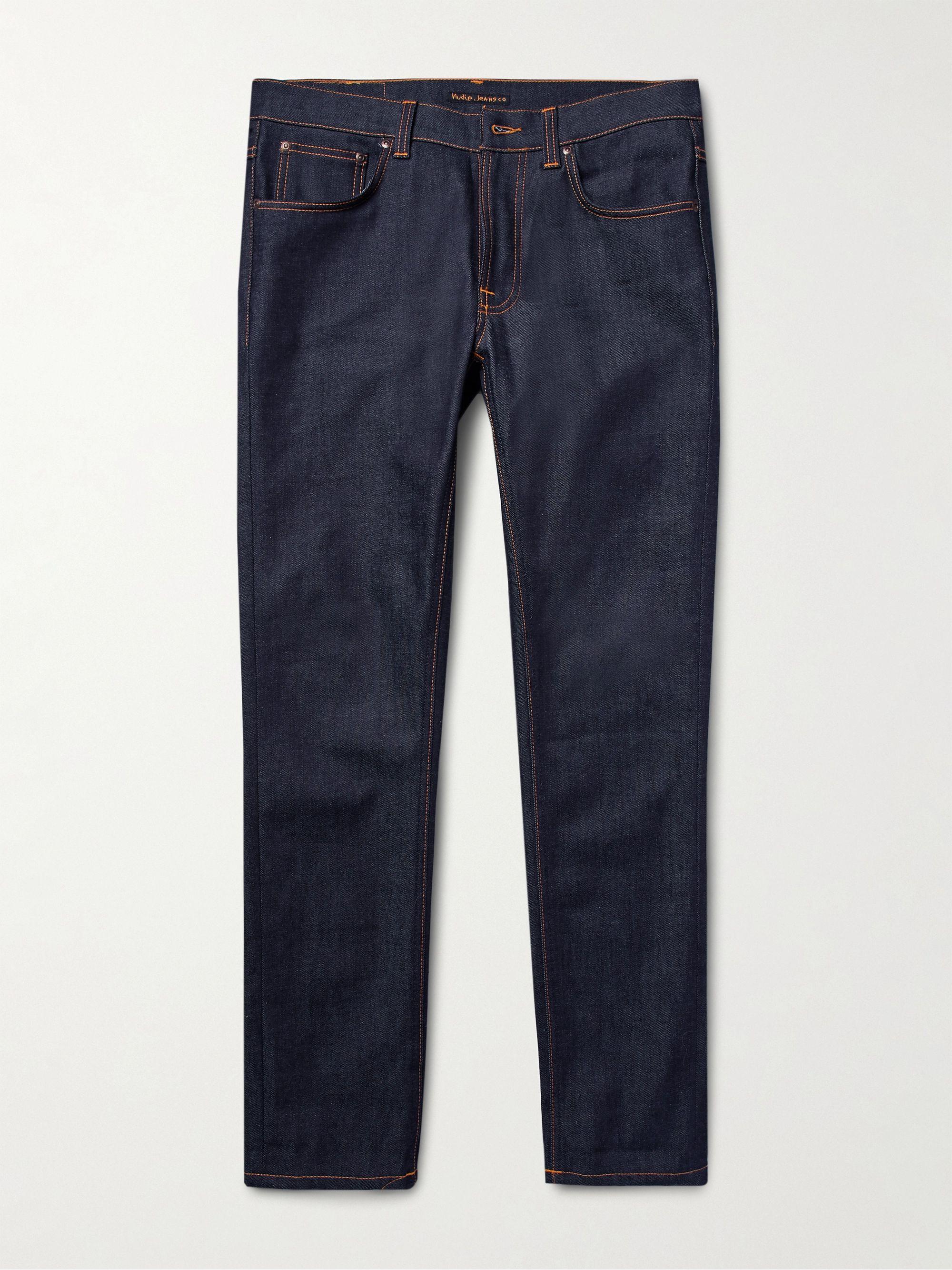 Nudie Jeans Dark denim Lean Dean Slim-Fit Dry Organic Denim Jeans,Dark denim