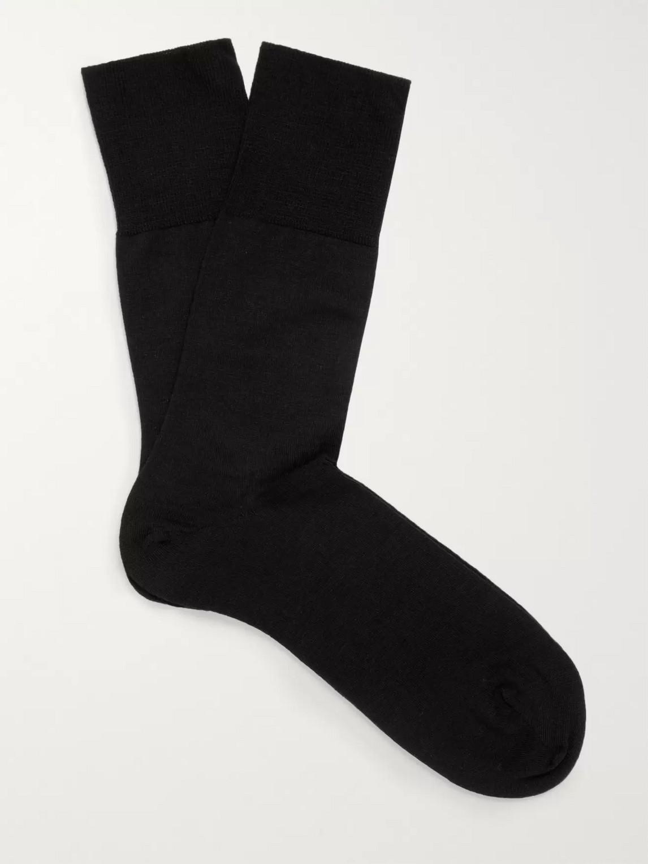 falke - airport merino wool-blend socks - men - black