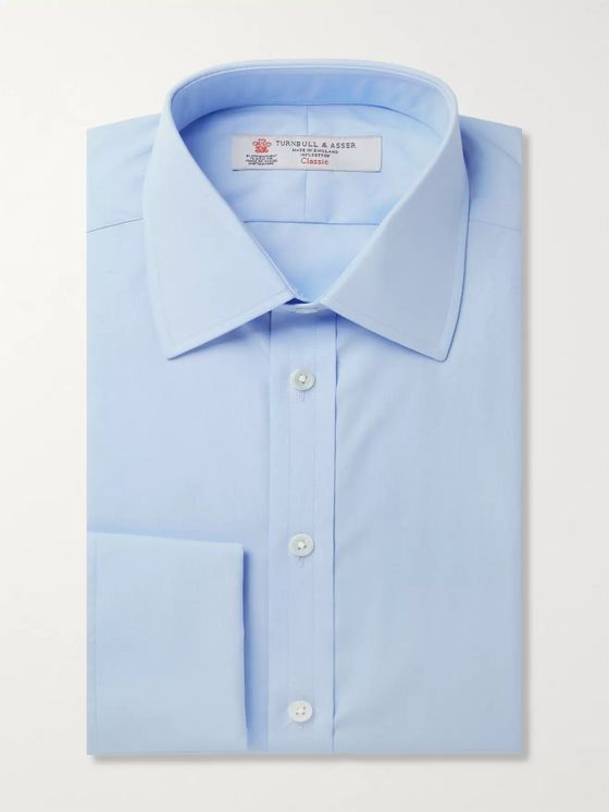 TURNBULL & ASSER Blue Double-Cuff Cotton Shirt