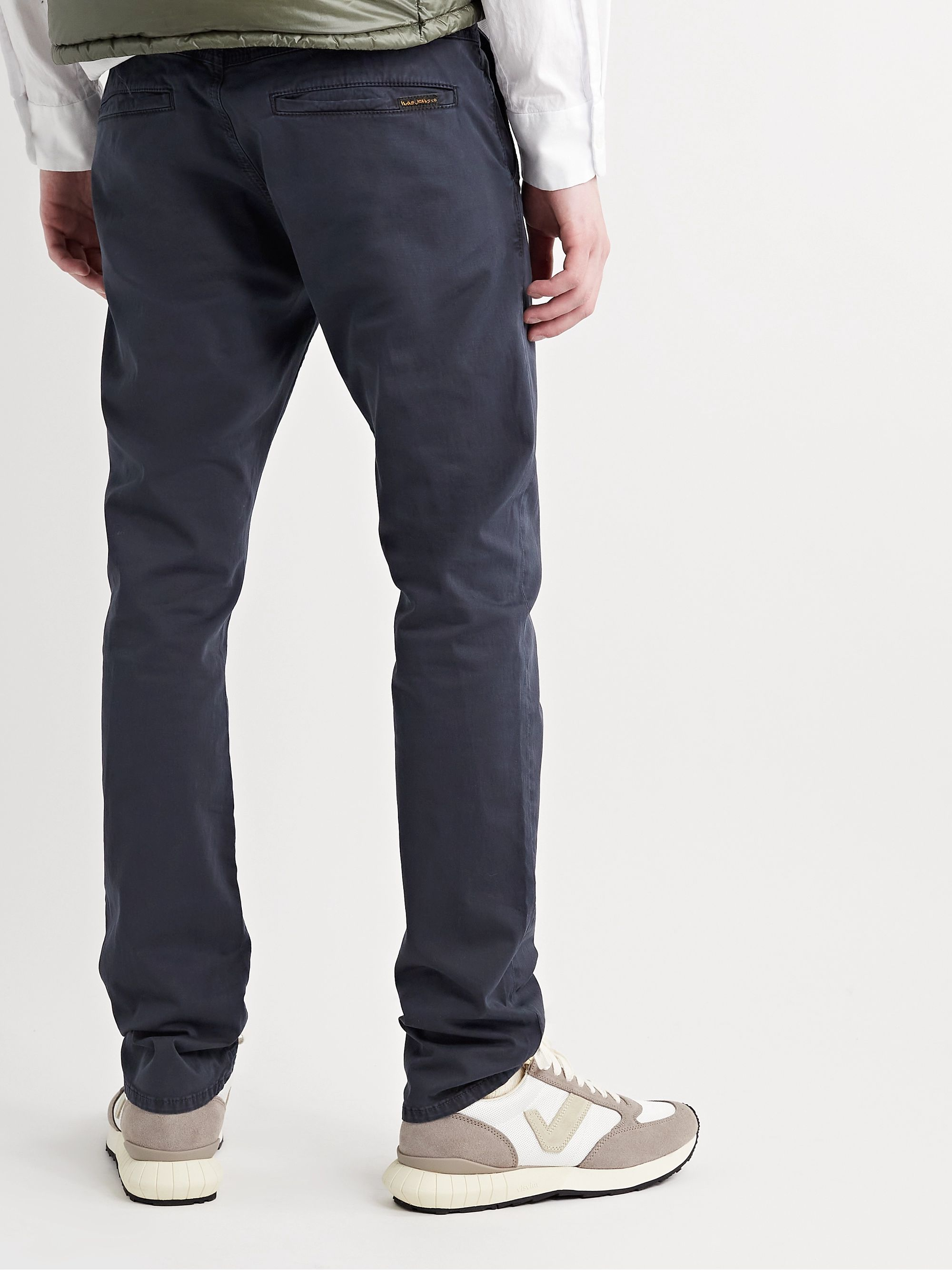Nudie Jeans Slim Adam Garment-Dyed Stretch Organic Cotton-Twill Trousers