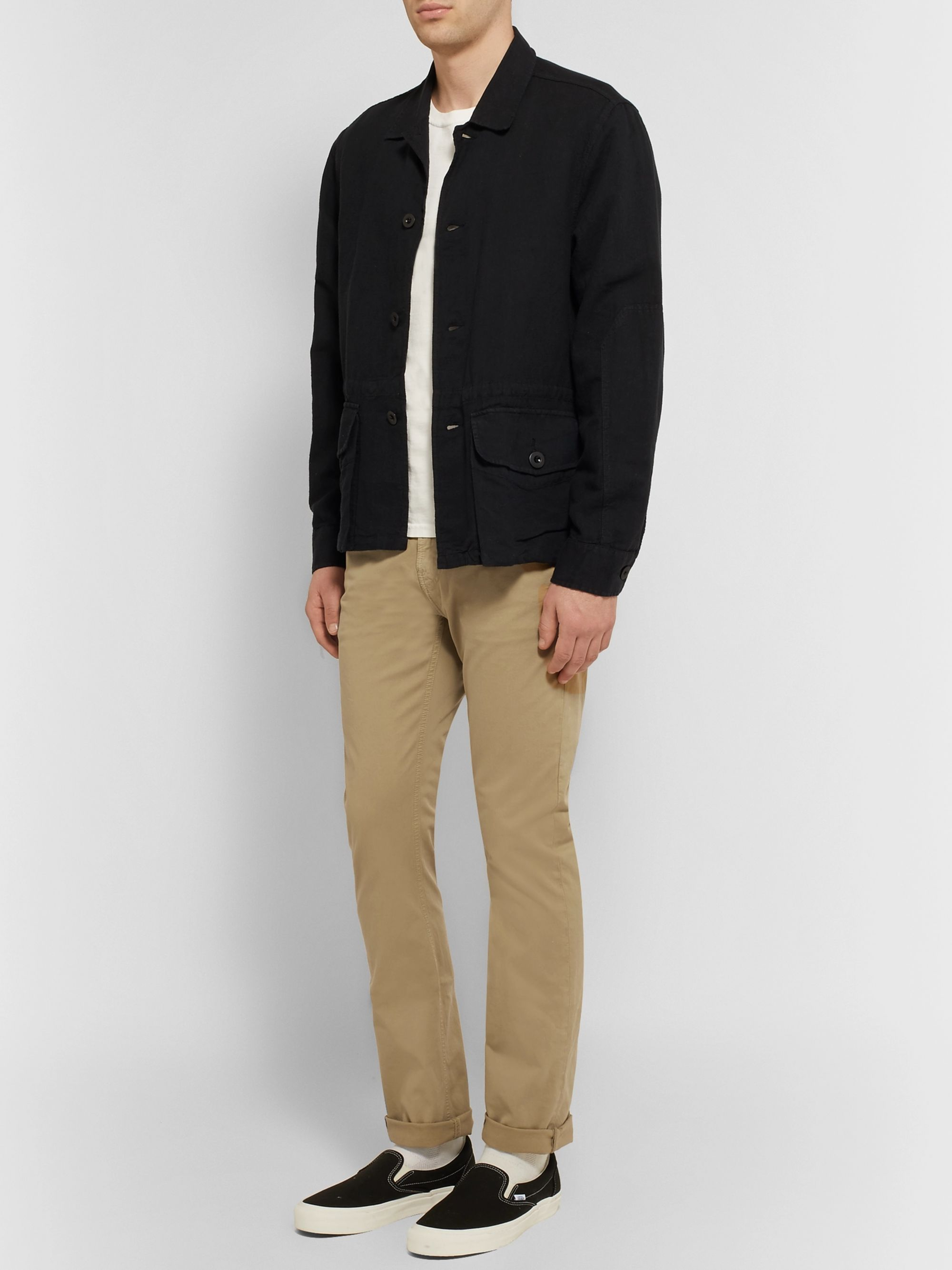 Nudie Jeans Slim Adam Garment-Dyed Stretch-Cotton Twill Trousers