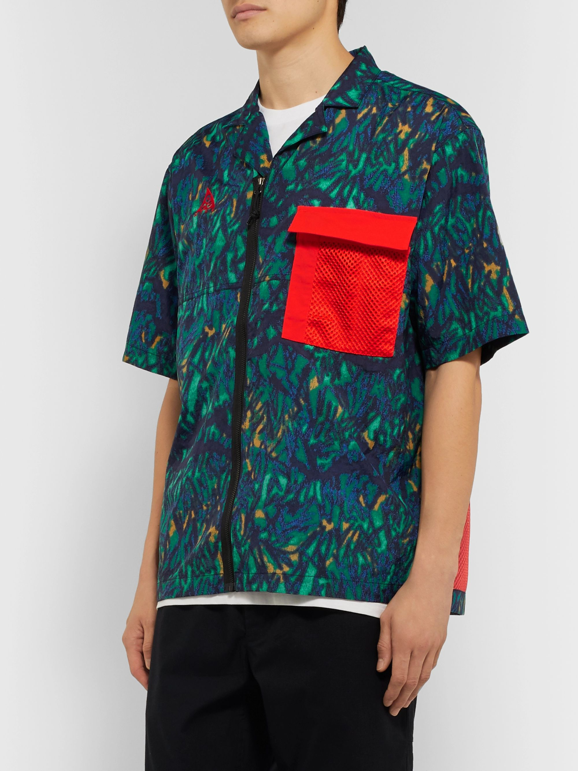 Nike ACG NRG Camp-Collar Mesh-Trimmed Printed Shell Shirt