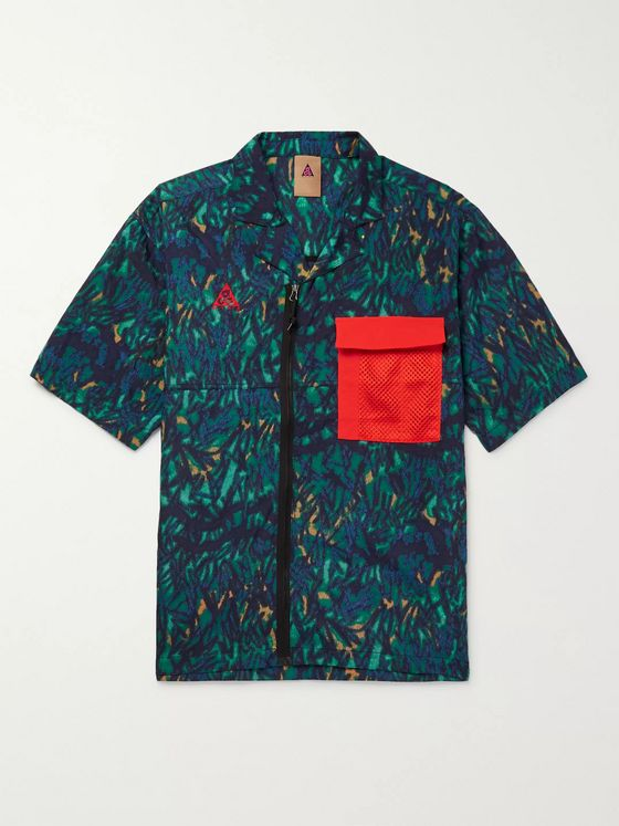 Nike ACG Camp-Collar Mesh-Trimmed Printed Shell Shirt