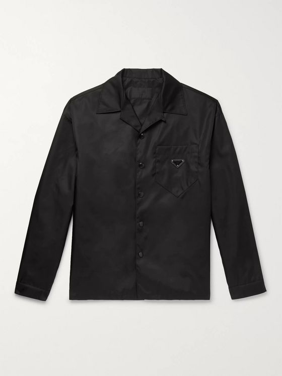 Prada Camp-Collar Logo-Appliquéd Nylon-Gabardine Overshirt