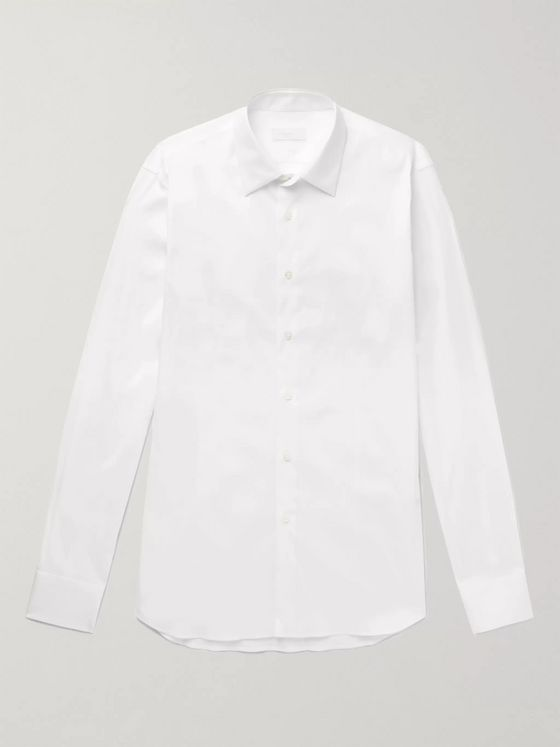 Prada White Slim-Fit Cotton-Blend Poplin Shirt