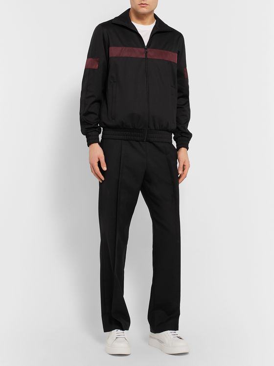 Prada Webbing and Shell-Trimmed Cotton-Blend Jersey Zip-Up Sweatshirt