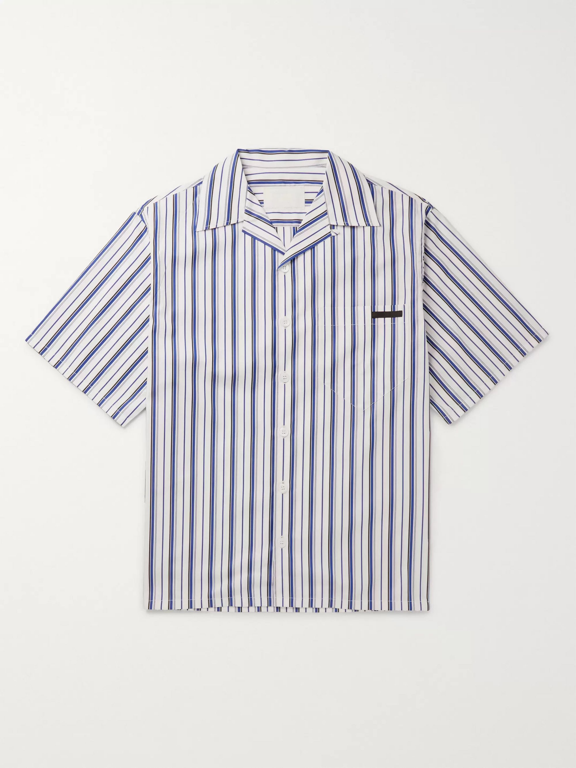 Prada Camp-Collar Striped Cotton Shirt
