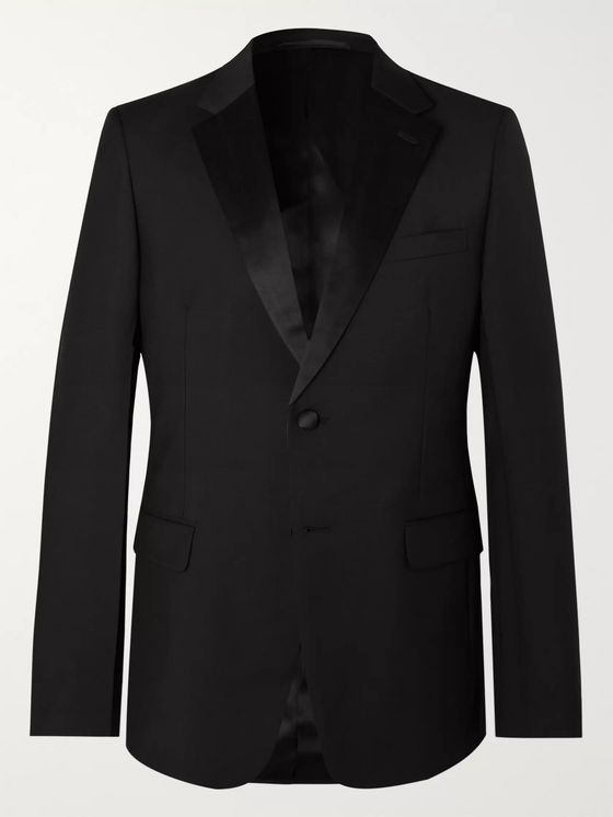 Prada Black Slim-Fit Silk Satin-Trimmed Virgin Wool and Mohair-Blend Tuxedo