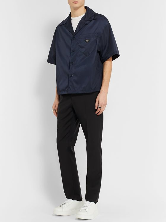 Prada Camp-Collar Logo-Appliquéd Nylon Shirt