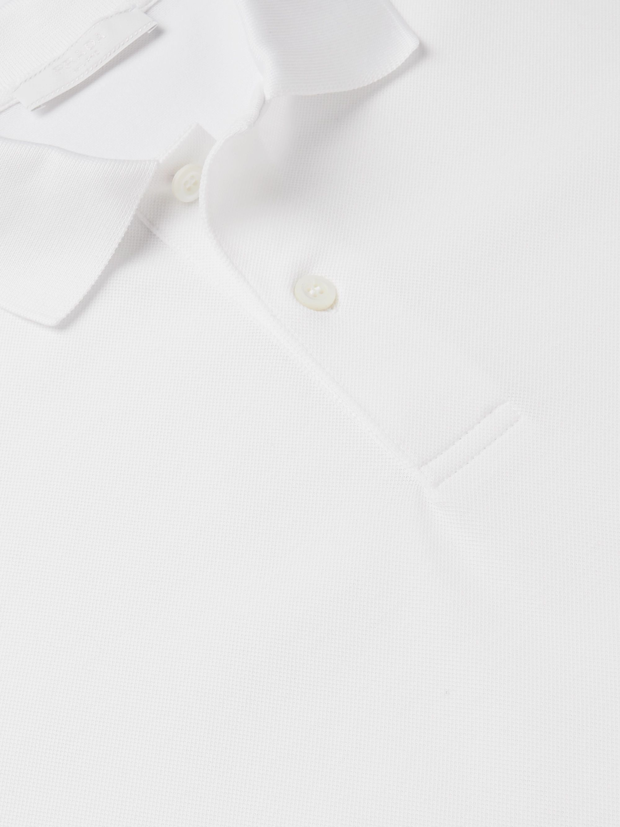 Prada Slim-Fit Grosgrain-Trimmed Cotton-Piqué Polo Shirt