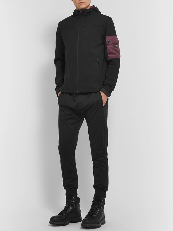 Prada Slim-Fit Logo-Appliquéd Stretch Nylon-Gabardine Zip-Up Hoodie