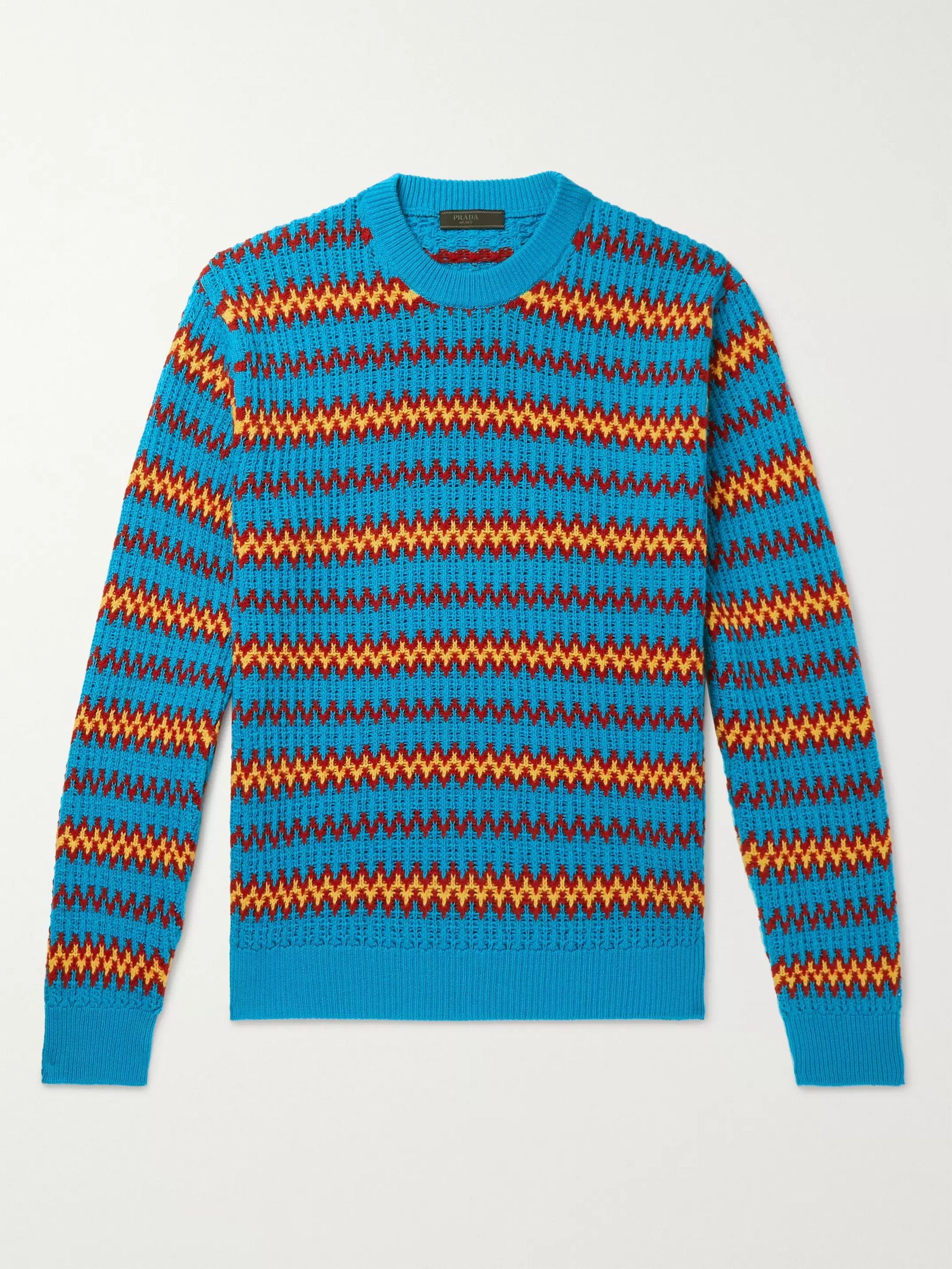 Prada Wool and Cashmere-Blend Jacquard Sweater