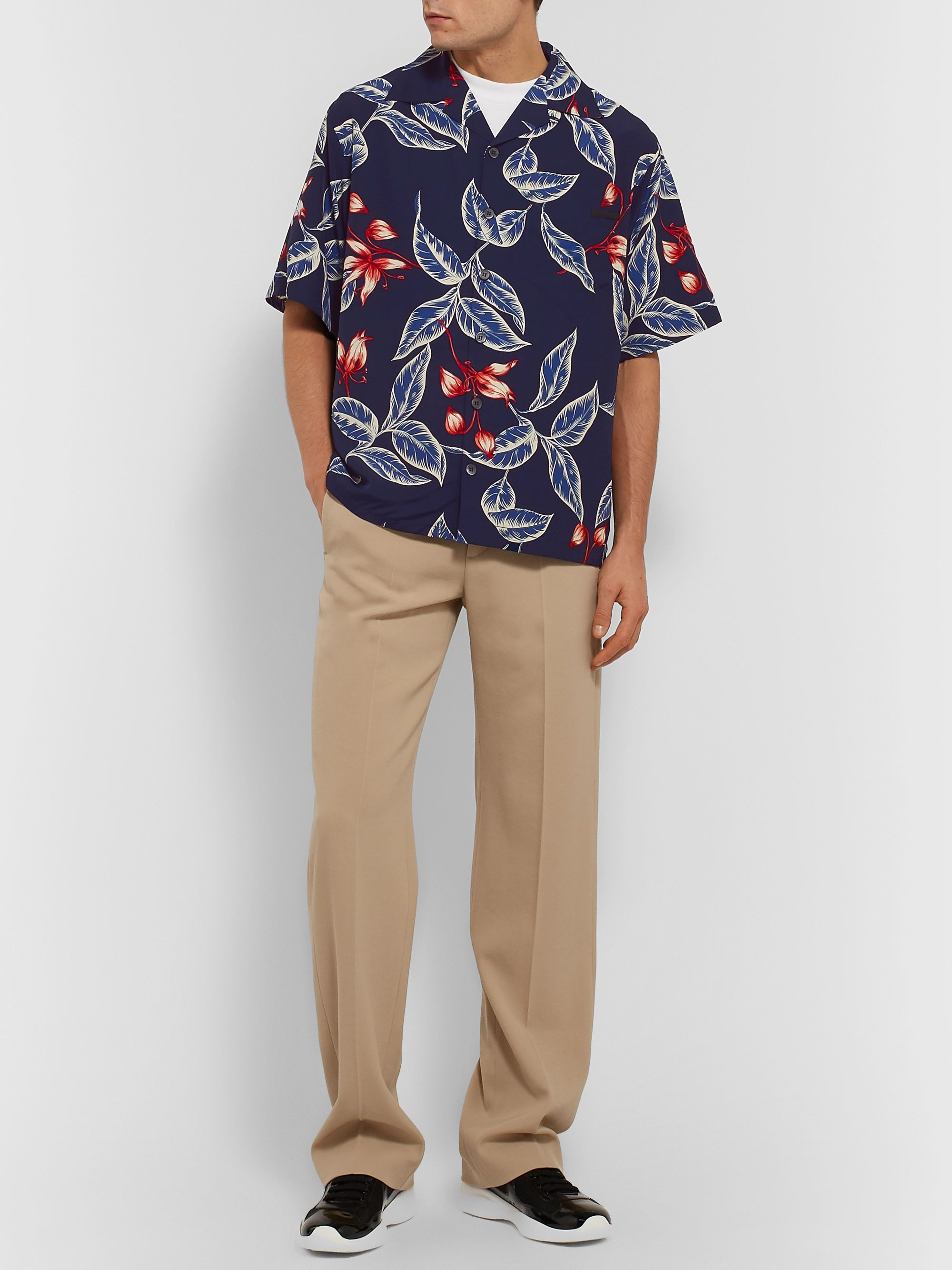 Prada Camp-Collar Printed Voile Shirt